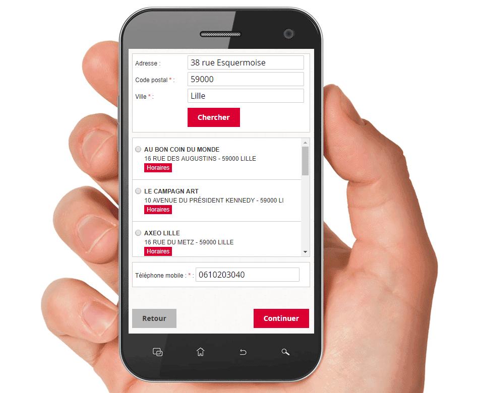 Affichage sur mobile du choix des Relais Pickup (Responsive)